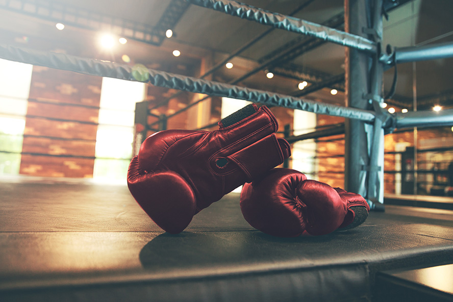Two boxing gloves lying in the ring.