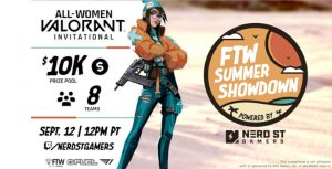 Featured announcer poster for For the Women Valorant tournament