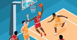 Raptors vs Nets nba basketball header image from shutterstock