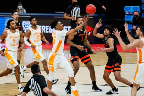 Tennessee Volunteers guard Keon Johnson (45) attempts to shoot the ball during their game against Oregon State Beavers first round of the 2021 NCAA Tournament on Friday, March 19, 2021 at Bankers Life Fieldhouse in Indianapolis, Ind. Mandatory Credit: Adam Cairns/IndyStar via USA TODAY Sports
