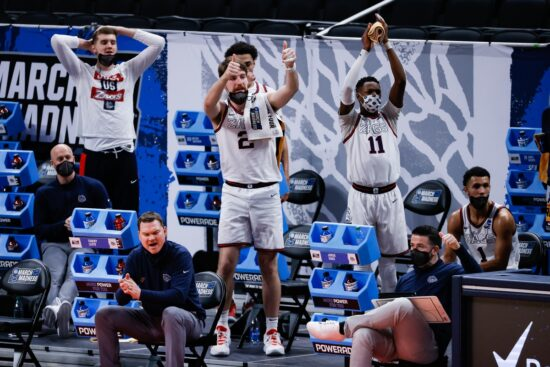 Gonzaga players react from the bench during their game against Norfolk State in the first round of the 2021 NCAA Tournament on Saturday, March 20, 2021 at Bankers Life Fieldhouse in Indianapolis, Ind. Mandatory Credit: Adam Cairns/IndyStar via USA TODAY Sports