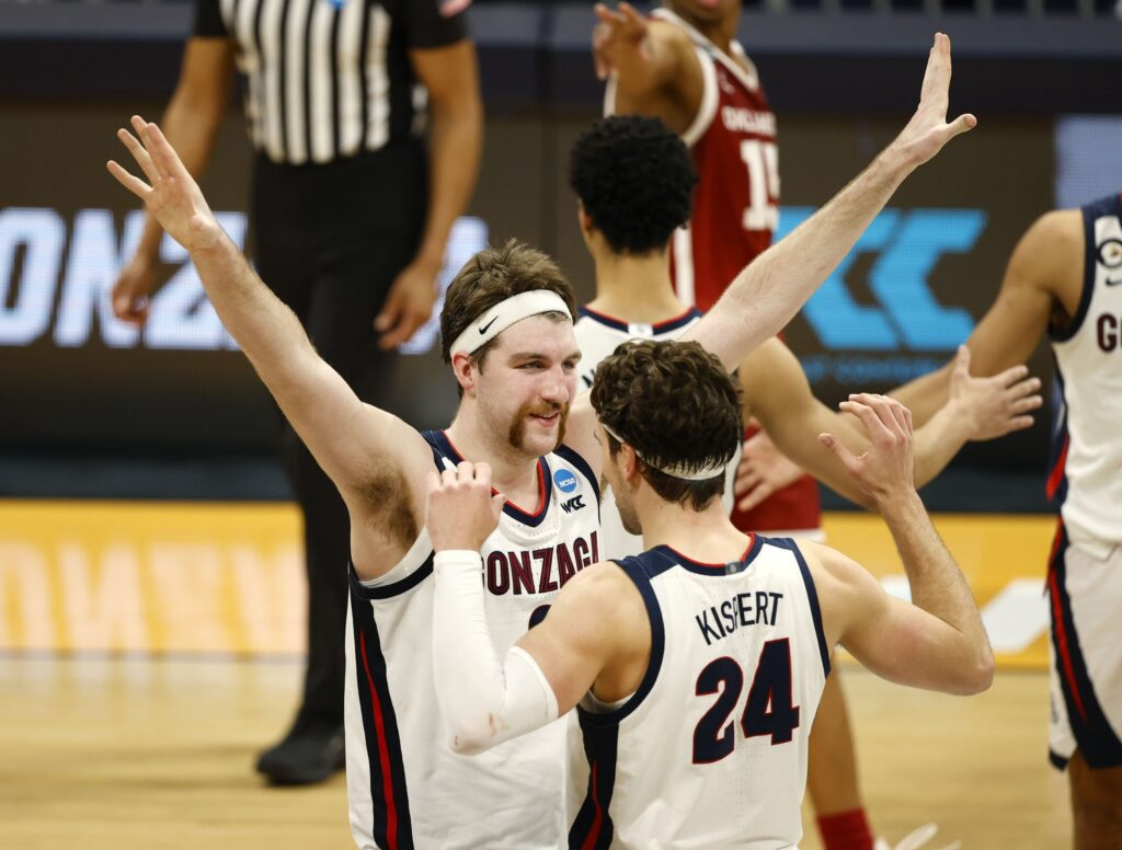 Gonzaga Bulldogs forward Drew Timme (2) and forward Corey Kispert (24) celebrate their 87-71 victory over the Oklahoma Sooners in the second half during the second round of the 2021 NCAA Tournament on Monday, March 22, 2021, at Hinkle Fieldhouse in Indianapolis, Ind. Mandatory Credit: Albert Cesare/IndyStar via USA TODAY Sports
