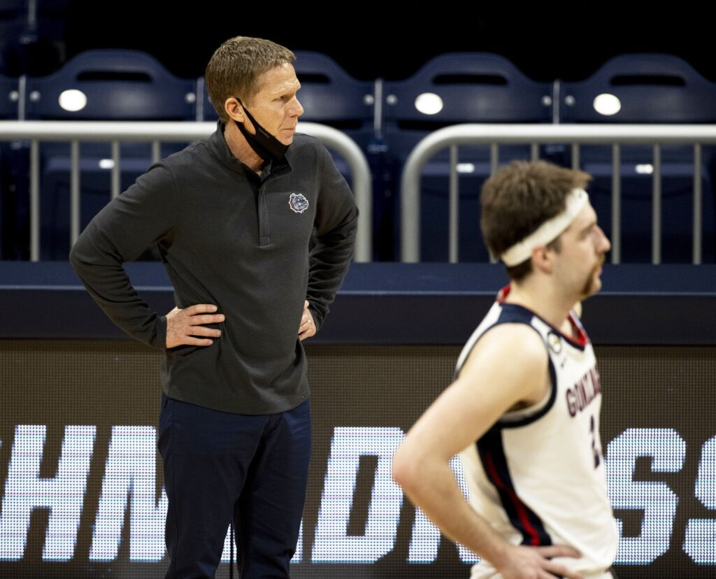 Gonzaga Bulldogs head coach Mark Few looks down court against the Oklahoma Sooners in the first half during the second round of the 2021 NCAA Tournament on Monday, March 22, 2021, at Hinkle Fieldhouse in Indianapolis, Ind. Mandatory Credit: Albert Cesare/IndyStar via USA TODAY Sports
