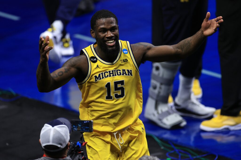 Mar 22, 2021; Indianapolis, Indiana, USA; Michigan Wolverines guard Chaundee Brown (15) reacts after the game in the second round of the 2021 NCAA Tournament against the Louisiana State Tigers at Lucas Oil Stadium. Mandatory Credit: Aaron Doster-USA TODAY Sports