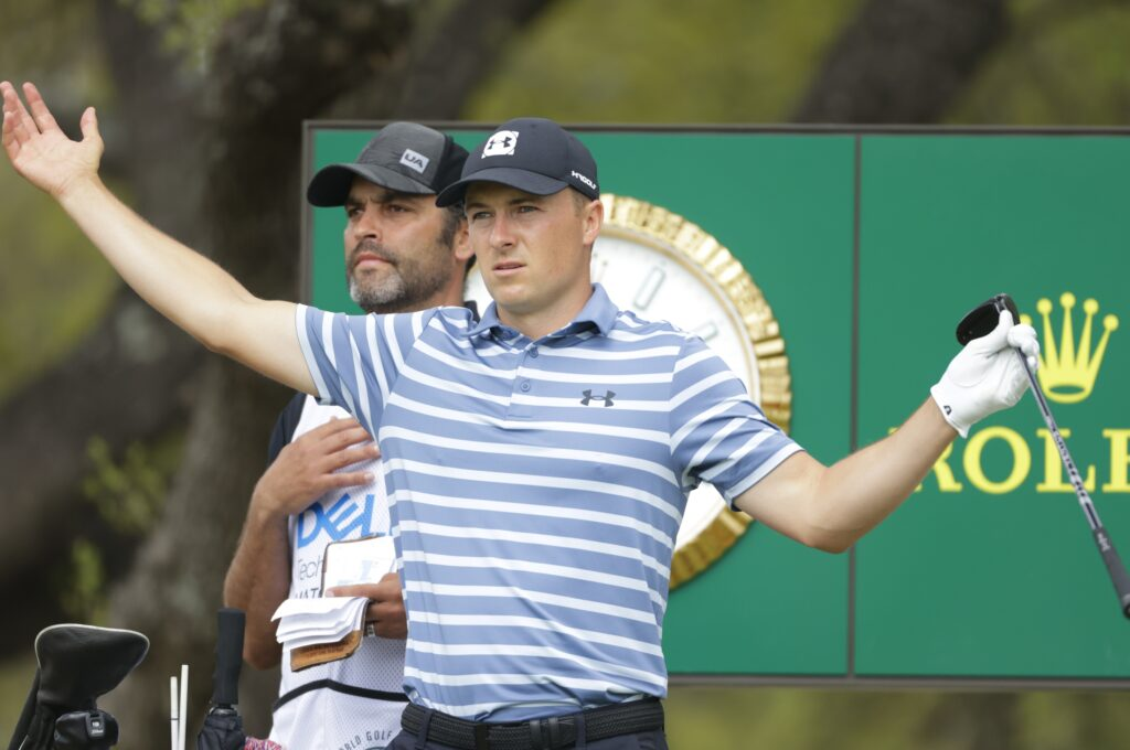 Mar 27, 2021; Austin, Texas, USA; Jordan Spieth signals down the fairway on #10 tee box during the fourth day of the WGC Dell Technologies Match Play golf tournament at Austin Country Club. Mandatory Credit: Erich Schlegel-USA TODAY Sports