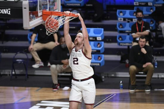 Mar 28, 2021; Indianapolis, IN, USA; Gonzaga Bulldogs forward Drew Timme (2) dunks against the Creighton Bluejays in the second half during the Sweet 16 of the 2021 NCAA Tournament at Hinkle Fieldhouse.  Mandatory Credit: Doug McSchooler-USA TODAY Sports