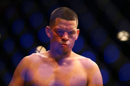 March 5, 2016; Las Vegas, NV, USA; Nate Diaz reacts during UFC 196 at MGM Grand Garden Arena. Mandatory Credit: Mark J. Rebilas-USA TODAY Sports