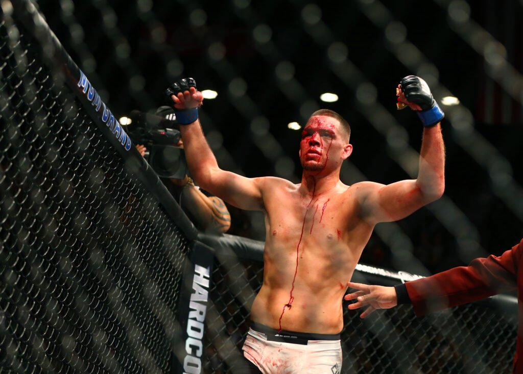 March 5, 2016; Las Vegas, NV, USA; Nate Diaz celebrates after his victory during UFC 196 at MGM Grand Garden Arena. Mandatory Credit: Mark J. Rebilas-USA TODAY Sports