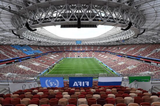 Jun 13, 2018; Moscow, RUSSIA; General view of the Luzhniki Olympic Stadium seen during the Russia national team final training for the FIFA World Cup 2018. Mandatory Credit: Tim Groothuis/Witters Sport via USA TODAY Sports