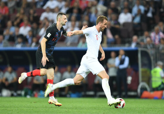 July 11, 2018; Moscow, Russia; England forward Harry Kane (9) moves the ball ahead of Croatia midfielder Marcelo Brozovic (11) in the semifinals of the FIFA World Cup 2018 at Saint Petersburg Stadium. Mandatory Credit: Tim Groothuis/Witters Sport via USA TODAY Sports