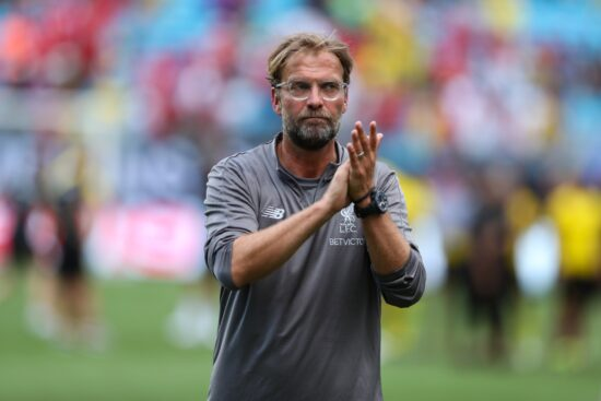 Jul 22, 2018; Charlotte, NC, USA; Liverpool Coach Jurgen Klopp applauds the fans after  the second half of an International Champions Cup soccer match between Liverpool and the Borussia Dortmund  at Bank of America Stadium. Mandatory Credit: Jim Dedmon-USA TODAY Sports