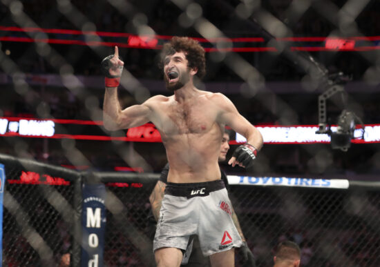 Sep 8, 2018; Dallas, TX, USA; Zabit Magomedsharipov (red gloves) reacts after defeating  Brandon Davis (not pictured) during UFC 228 at American Airlines Center. Mandatory Credit: Kevin Jairaj-USA TODAY Sports