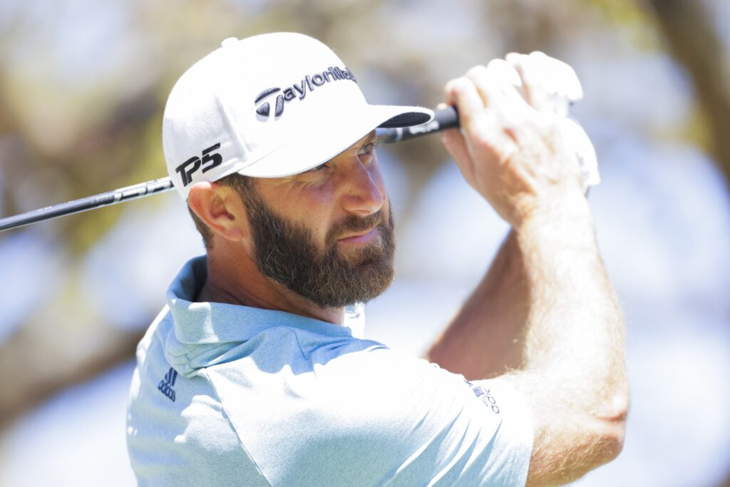 Mar 25, 2021; Austin, Texas, USA; Dustin Johnson on the #1 tee during the second day of the WGC Dell Technologies Match Play golf tournament at Austin Country Club. Mandatory Credit: Erich Schlegel-USA TODAY Sports
