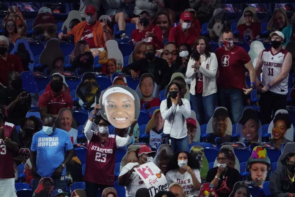 Apr 4, 2021; San Antonio, TX, USA; Stanford Cardinal fans cheer from the stands against the Arizona Wildcats during the second half in the national championship game of the women's Final Four of the 2021 NCAA Tournament at Alamodome. Mandatory Credit: Kirby Lee-USA TODAY Sports