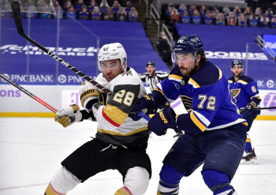 Apr 5, 2021; St. Louis, Missouri, USA;  Vegas Golden Knights left wing William Carrier (28) skates against St. Louis Blues defenseman Justin Faulk (72) during the third period at Enterprise Center. Mandatory Credit: Jeff Curry-USA TODAY Sports