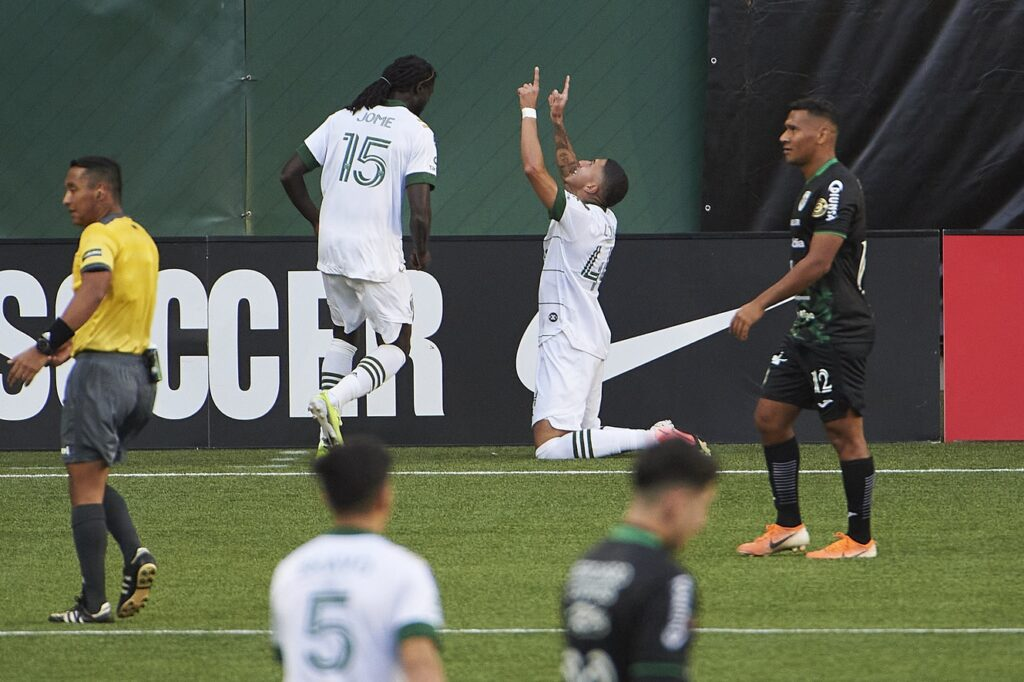 Apr 13, 2021; Portland, Oregon, USA; Portland Timbers midfielder Marvin Loria (44) celebrates after scoring a goal during the second half against Marathon at Providence Park. Mandatory Credit: Troy Wayrynen-USA TODAY Sports