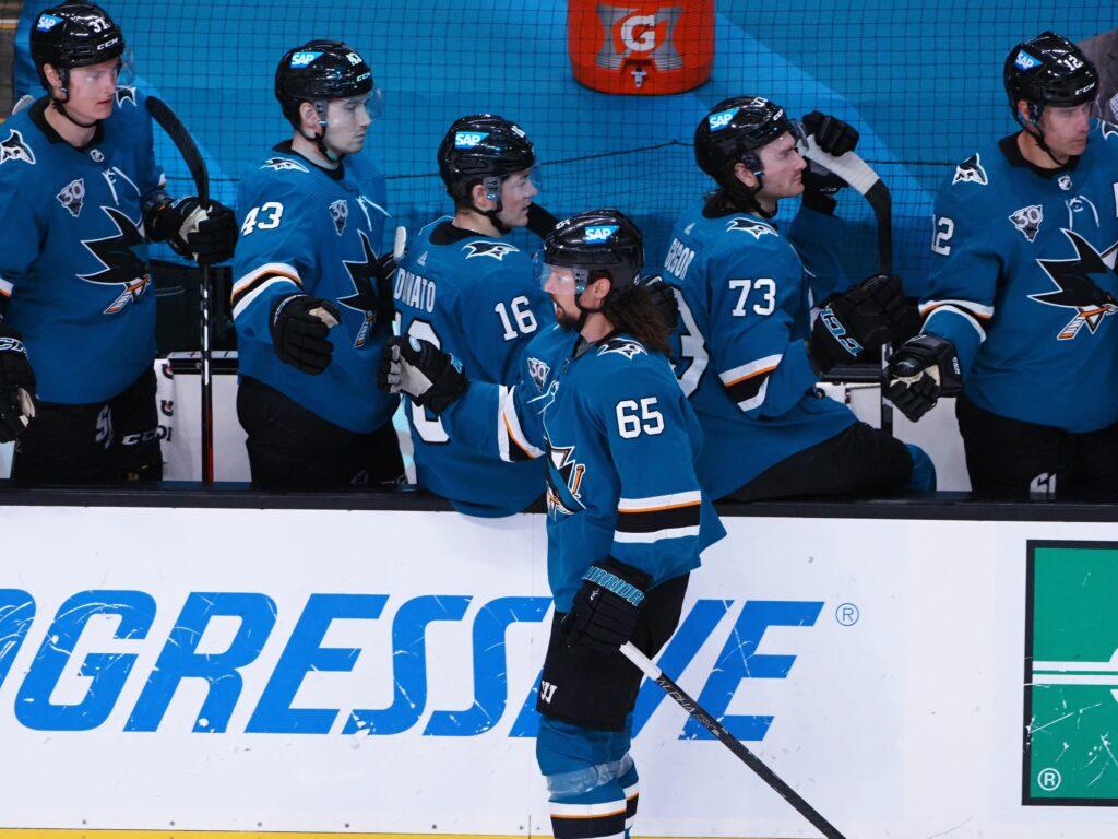 Apr 14, 2021; San Jose, California, USA; San Jose Sharks defenseman Erik Karlsson (65) celebrates with teammates after a goal against the Anaheim Ducks during the third period at SAP Center at San Jose. Mandatory Credit: Kelley L Cox-USA TODAY Sports