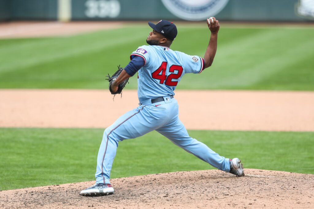 Apr 15, 2021; Minneapolis, Minnesota, USA; Minnesota Twins relief pitcher Alex Colome delivers a pitch against the Boston Red Sox in the ninth inning at Target Field. Mandatory Credit: David Berding-USA TODAY Sports