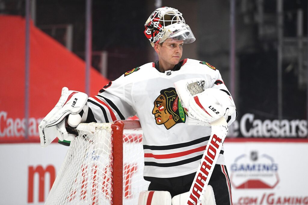 Apr 15, 2021; Detroit, Michigan, USA; Chicago Blackhawks goaltender Kevin Lankinen (32) during the second period against the Detroit Red Wings at Little Caesars Arena. Mandatory Credit: Tim Fuller-USA TODAY Sports