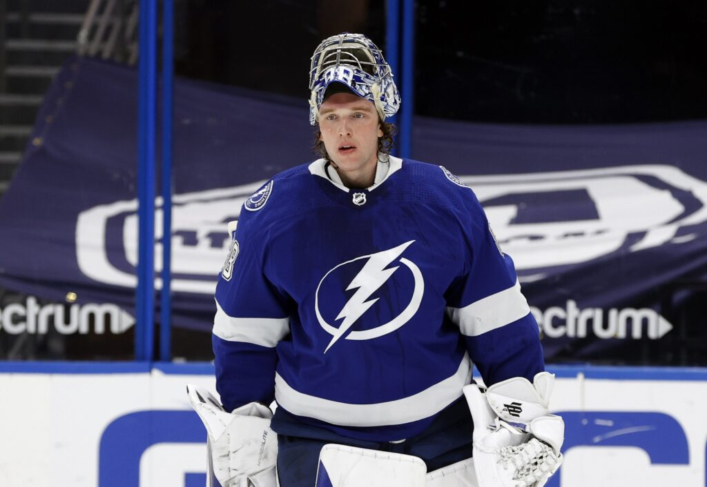 Apr 19, 2021; Tampa, Florida, USA; Tampa Bay Lightning goaltender Andrei Vasilevskiy (88) against the Carolina Hurricanesduring the second period at Amalie Arena. Mandatory Credit: Kim Klement-USA TODAY Sports