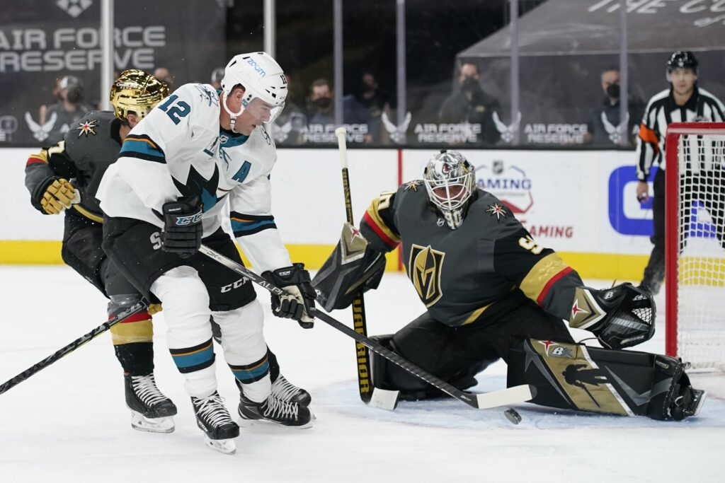 Apr 19, 2021; Las Vegas, Nevada, USA; San Jose Sharks center Patrick Marleau (12) attempts a shot on Vegas Golden Knights goaltender Robin Lehner (90) during the first period at T-Mobile Arena. Mandatory Credit:  John Locher/POOL PHOTOS-USA TODAY Sports