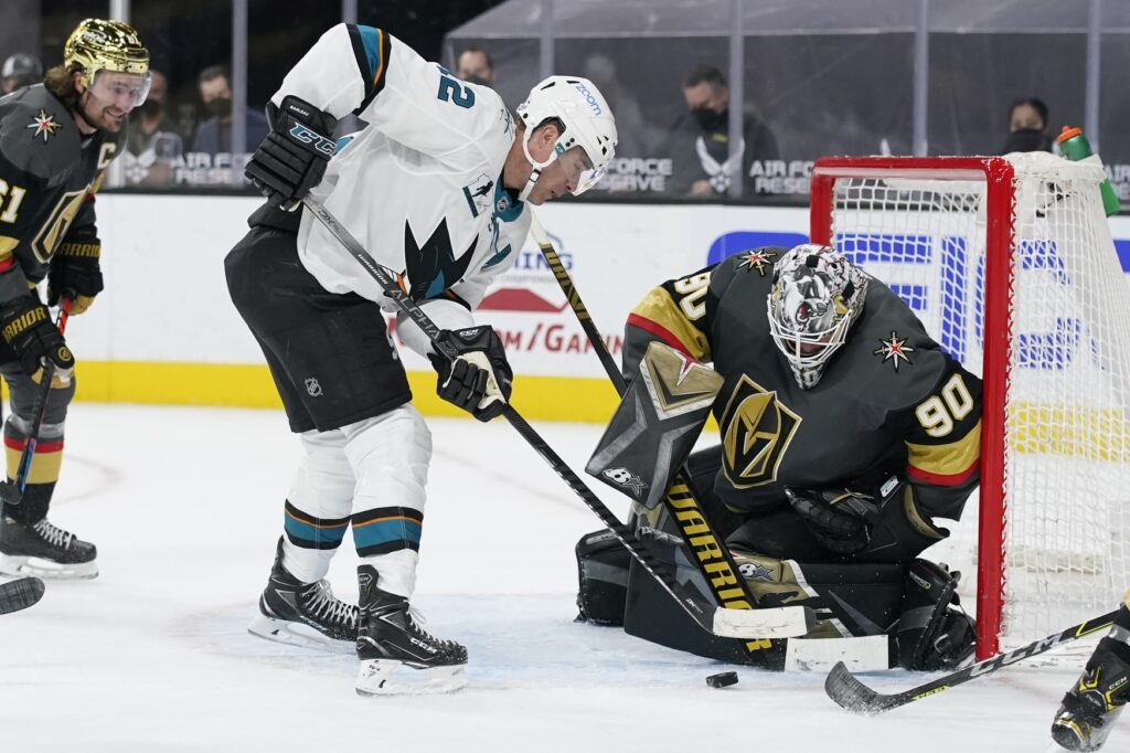 Apr 19, 2021; Las Vegas, Nevada, USA;  San Jose Sharks center Patrick Marleau (12) attempts a shot on Vegas Golden Knights goaltender Robin Lehner (90) during the third period at T-Mobile Arena. Mandatory Credit:  John Locher/POOL PHOTOS-USA TODAY Sports
