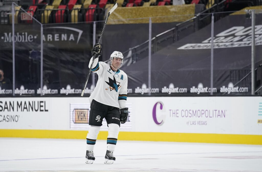 Apr 19, 2021; Las Vegas, Nevada, USA;  San Jose Sharks center Patrick Marleau (12) reacts after an NHL hockey game against the Vegas Golden Knights at T-Mobile Arena. Marleau passed Gordie Howe for most NHL games played on Monday. Mandatory Credit:  John Locher/POOL PHOTOS-USA TODAY Sports