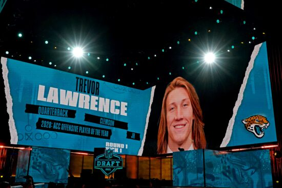 Apr 29, 2021; Cleveland, Ohio, USA; NFL commissioner Roger Goodell announces Trevor Lawrence (Clemson) being selected by the Jacksonville Jaguars as the number one overall pick in the first round of the 2021 NFL Draft at First Energy Stadium. Mandatory Credit: Kirby Lee-USA TODAY Sports