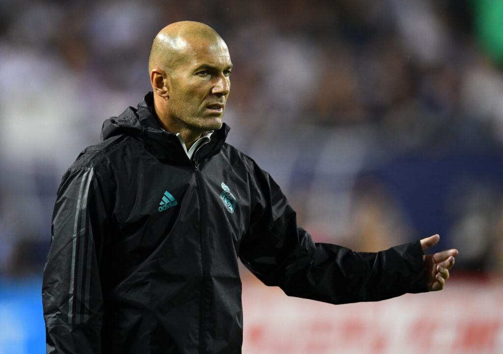 Aug 2, 2017; Chicago, IL, USA; Real Madrid head coach Zinedine Zidane during the 2017 MLS All Star Game at Soldier Field. Mandatory Credit: Mike DiNovo-USA TODAY Sports