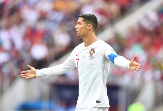 Jun 20, 2018; Moscow, Russia; Portugal forward Cristiano Ronaldo (7) reacts in Group D play during the FIFA World Cup 2018 at Spartak Stadium. Mandatory Credit: Tim Groothuis/Witters Sport via USA TODAY Sports