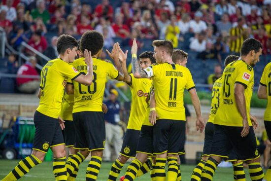 Jul 19, 2019; South Bend, IN, USA; Borussia Dortmund midfielder Thomas Delaney (6) celebrates his goal with  teammates in the second half of a preseason preparation soccer match against the Liverpool at Notre Dame. Mandatory Credit: Trevor Ruszkowski-USA TODAY Sports