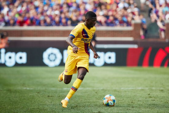 Aug 10, 2019; Ann Arbor, MI, USA; Barcelona forward Ousmane Dembele (11) during a United States La Liga-Serie A Cup Tour soccer match at Michigan Stadium. Mandatory Credit: Rick Osentoski-USA TODAY Sports