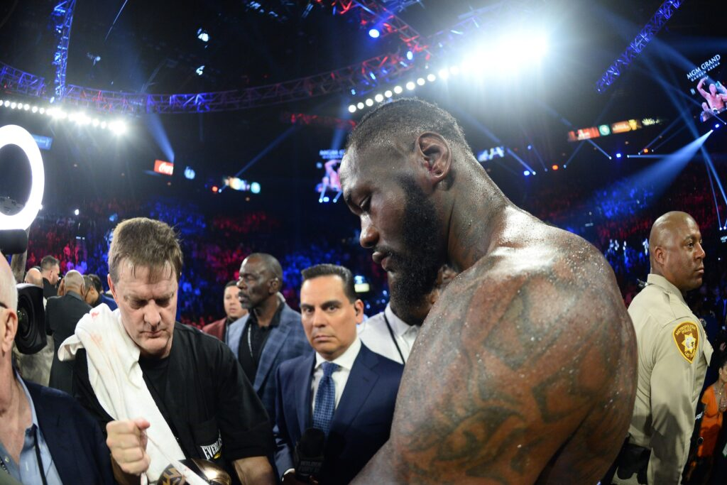 Feb 22, 2020; Las Vegas, Nevada, USA; Deontay Wilder reacts after his WBC heavyweight title bout against Tyson Fury at MGM Grand Garden Arena. Fury won via seventh round TKO. Mandatory Credit: Joe Camporeale-USA TODAY Sports