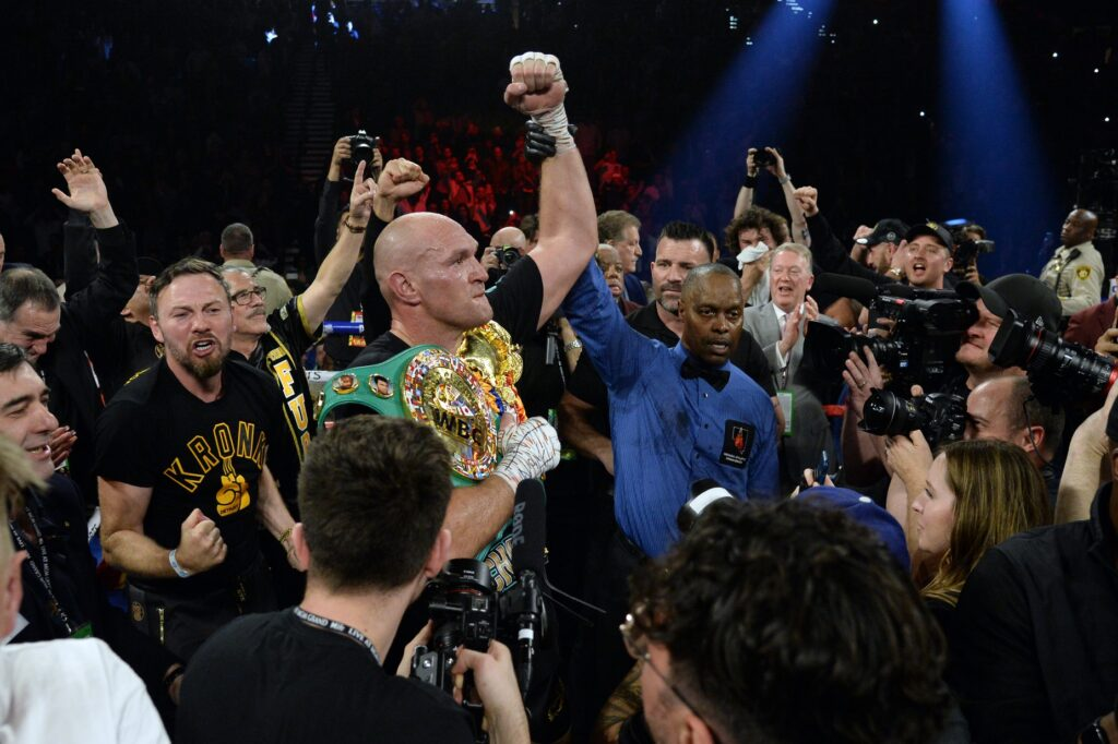 Feb 22, 2020; Las Vegas, Nevada, USA; Tyson Fury celebrates after defeating Deontay Wilder in their WBC heavyweight title bout at MGM Grand Garden Arena. Fury won via seventh round TKO. Mandatory Credit: Joe Camporeale-USA TODAY Sports