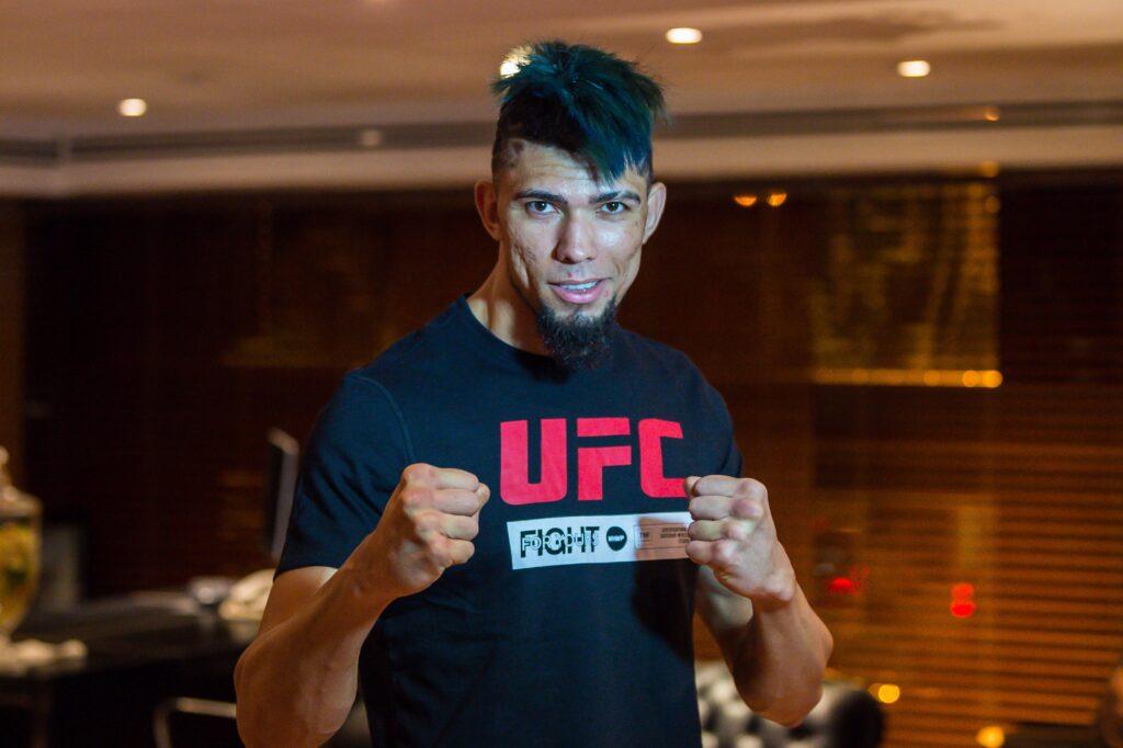 Mar 14, 2020; Brasilia, Brazil; Johnny Walker in the press room during UFC Fight Night at Ginasio Nilson Nelson. Mandatory Credit: Jason da Silva-USA TODAY Sports