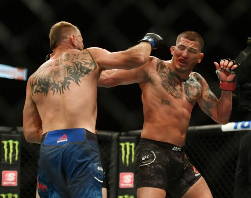 May 9, 2020; Jacksonville, Florida, USA; Anthony Pettis (red gloves) fights Donald Cerrone (blue gloves) during UFC 249 at VyStar Veterans Memorial Arena. Mandatory Credit: Jasen Vinlove-USA TODAY Sports