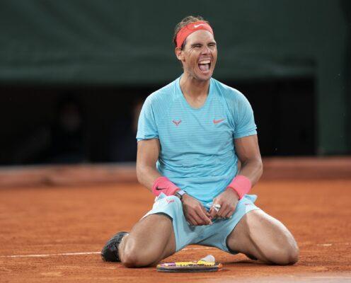 Oct 11, 2020;  Paris, France; Rafael Nadal (ESP) celebrates match point during his match against Novak Djokovic (SRB) on day 15 at Stade Roland Garros. Mandatory Credit: Susan Mullane-USA TODAY Sports