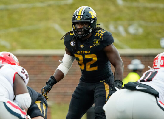 Dec 12, 2020; Columbia, Missouri, USA; Missouri Tigers linebacker Nick Bolton (32) gets ready to defend against the Georgia Bulldogs during the first half at Faurot Field at Memorial Stadium. Mandatory Credit: Jay Biggerstaff-USA TODAY Sports