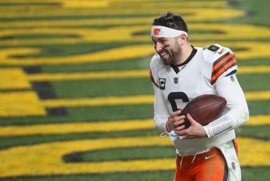 Browns quarterback Baker Mayfield (6) rushes back to the locker room after beating the Pittsburgh Steelers in an NFL wild-card playoff football game, Sunday, Jan. 10, 2021, in Pittsburgh, Pennsylvania. [Jeff Lange/Beacon Journal]Browns Extras 10