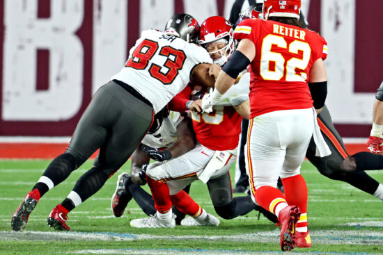 Feb 7, 2021; Tampa, FL, USA;  Kansas City Chiefs quarterback Patrick Mahomes (15) is sacked by Tampa Bay Buccaneers defensive end Ndamukong Suh (93) during the fourth quarter in Super Bowl LV at Raymond James Stadium.  Mandatory Credit: Matthew Emmons-USA TODAY Sports