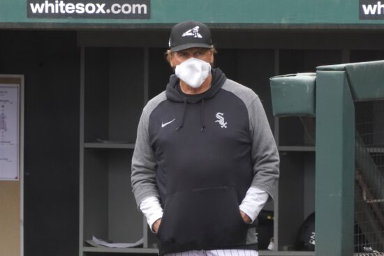 Mar 13, 2021; Phoenix, Arizona, USA; Chicago White Sox manager Tony LaRussa watches from the dugout against the Los Angeles Angels during a spring training game at Camelback Ranch in Glendale. Mandatory Credit: Rick Scuteri-USA TODAY Sports