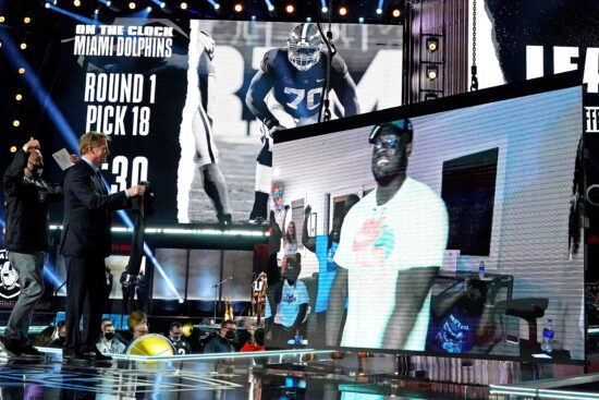 Apr 29, 2021; Cleveland, Ohio, USA; Alex Leatherwood (Alabama) with NFL commissioner Roger Goodell over video call after being selected by the Las Vegas Raiders as the number 17 overall pick in the first round of the 2021 NFL Draft at First Energy Stadium. Mandatory Credit: Kirby Lee-USA TODAY Sports
