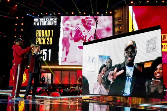 Apr 29, 2021; Cleveland, Ohio, USA; Jamin Davis (Kentucky) with NFL commissioner Roger Goodell over video call after being selected by the Washington Football Team as the number 19 overall pick in the first round of the 2021 NFL Draft at First Energy Stadium. Mandatory Credit: Kirby Lee-USA TODAY Sports