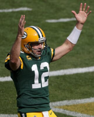 Green Bay Packers quarterback Aaron Rodgers celebrates an Aaron Jones third quarter touchdown against the Detroit Lions on Sunday, September 20, 2020, at Lambeau Field in Green Bay, Wis.Mjs Apc Packers Vs Lions1362 092020 Wag