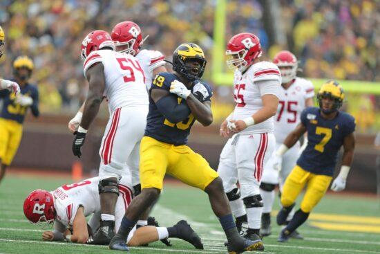 Michigan defensive lineman Kwity Paye sacks Rutgers quarterback Artur Sitkowski during the first half on Saturday, Sept. 28, 2019, at Michigan Stadium.Michigan Football