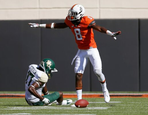 Oklahoma State's Rodarius Williams (8) was drafted by the New York Giants in the sixth round of the NFL Draft on Saturday.Rodarius