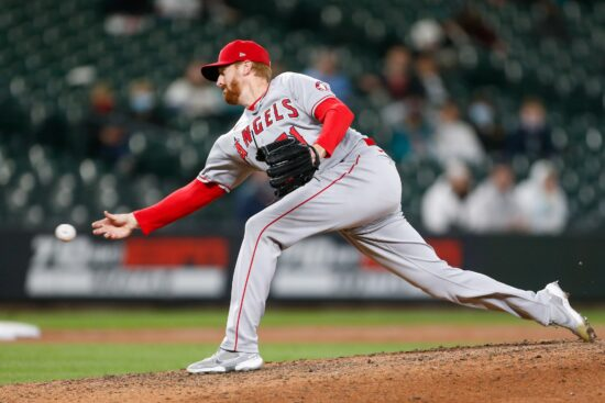 May 1, 2021; Seattle, Washington, USA; Los Angeles Angels relief pitcher Ben Rowen (71) throws a pitch against the Seattle Mariners during the ninth inning at T-Mobile Park. Mandatory Credit: Jennifer Buchanan-USA TODAY Sports