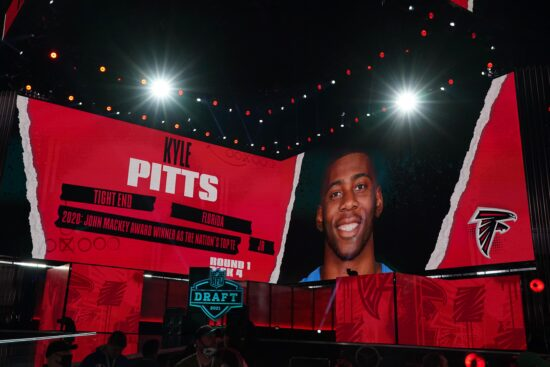 Apr 29, 2021; Cleveland, Ohio, USA; Florida Gators tight end Kyle Pitts is displayed on the video board after being selected as the fourth pick by the Atlanta Falcons during the 2021 NFL Draft  at First Energy Stadium. Mandatory Credit: Kirby Lee-USA TODAY Sports