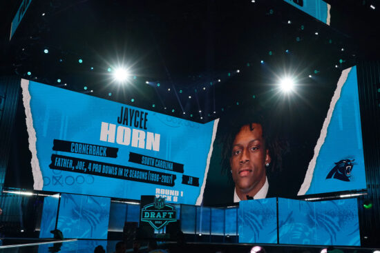 Apr 29, 2021; Cleveland, Ohio, USA; South Carolina Gamecocks defensive back Jaycee Horn is displayed on the video board after being selected as the eighth pick by the Carolina Panthers during the 2021 NFL Draft  at First Energy Stadium. Mandatory Credit: Kirby Lee-USA TODAY Sports