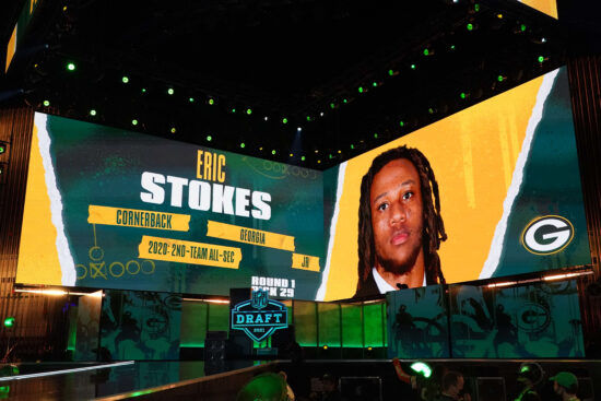 Apr 29, 2021; Cleveland, Ohio, USA; Georgia Bulldogs cornerback Eric Stokes is displayed on the video board after being selected as the 29th pick by the Green Bay Packers during the 2021 NFL Draft  at First Energy Stadium. Mandatory Credit: Kirby Lee-USA TODAY Sports